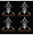 biker theme labels with motorbike and skull vector image vector image