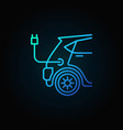 blue electric car concept icon in line vector image vector image