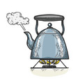 boiling kettle teapot engraving style vector image
