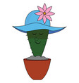 cactus with blue hat on white background vector image