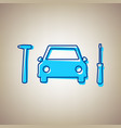 car tire repair service sign sky blue vector image vector image
