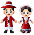 cartoon italian couple wearing traditional costume vector image vector image