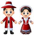 cartoon italian couple wearing traditional costume vector image