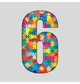 Color Puzzle Number - 6 Six Gigsaw Piece vector image