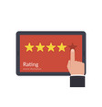 concept of feedback stars on the tablet screen vector image vector image