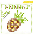 crosstiched simple ananas with framle and needle vector image vector image