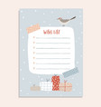 cute christmas wish list with tapes bird sitting vector image vector image