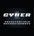 cyber style letters set bold italic steel vector image vector image