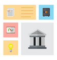 flat icon finance set of diagram bubl document vector image vector image