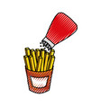 french fries and salt fast food delicious fresh vector image