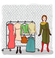 girl with a set of clothes vector image