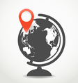 Globe with the point of destination vector image vector image