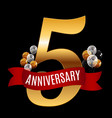 golden 5 years anniversary template with red vector image