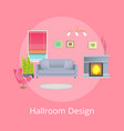 hallroom design promo poster with modern furniture vector image vector image