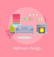 hallroom design promo poster with modern furniture vector image