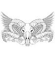 hand drawn artwork with skull ram flowers vector image