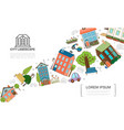 hand drawn city elements concept vector image vector image
