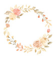 hand painted pastel watercolor wreath flower vector image vector image