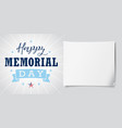 happy memorial day usa lettering stripes banner vector image vector image