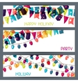 holiday colorful horizontal banners with flags vector image