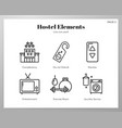 hostel elements line pack vector image