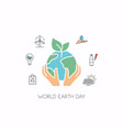 human hands holding earth save earth concept vector image