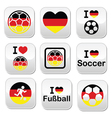 I love German football soccer buttons set vector image vector image