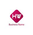 initial hw letter logo design vector image