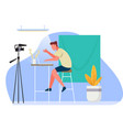 live broadcast from home live streaming vector image vector image
