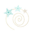marine sketch line art seastar in gold wreath vector image vector image