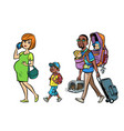 multi ethnic family travelers mom dad and kids vector image vector image
