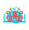 octopus character design flat vector image vector image
