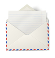 Opened air mail envelope with white lined paper vector image vector image