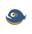 orange and blue colored piranha vector image