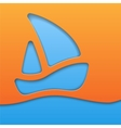 Paper cut yacht on blue sea vector image