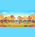 people relaxing outdoors in autumn urban park over vector image vector image