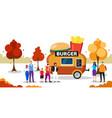 people standing in line queue burger trailer tasty vector image