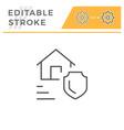 real estate insurance editable stroke line icon vector image