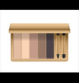 realistic eyeshadow palette with brush vector image