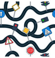 roadn and sign seamless pattern roads and road vector image