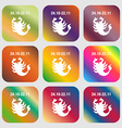 Scorpio sign icon Nine buttons with bright vector image
