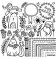 set bullet journal doodle christmas elements vector image