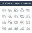 set line icons heavy equipment vector image