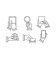set of 6 linear business icons human hands vector image