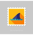 Shark fin flat stamp with long shadow vector image vector image