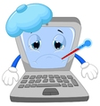 Sick laptop cartoon vector image vector image