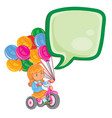 small girl ride tricycle with balloons vector image vector image
