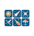 space icons set sun meteorite rocket satellite vector image vector image