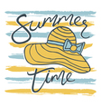 summer time card with hat and stripes vector image vector image