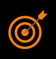 target with dart orange icon on black background vector image vector image